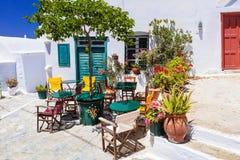 Beautiful Amorgos island,Traditional Greek Bar. Colors of Greece series - cute bars and tavernas, Amorgos island stock photography