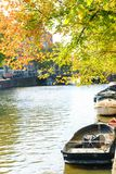 Morning on a canal in Amsterdam royalty free stock photo