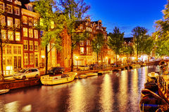 Beautiful Amsterdam city at the evening time. Royalty Free Stock Photography