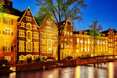 Beautiful Amsterdam city at the evening time. Stock Photos