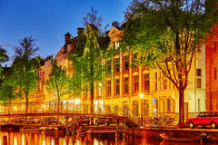 Beautiful Amsterdam city at the evening time. Royalty Free Stock Image
