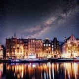 Beautiful in Amsterdam. Night illumination Stock Image
