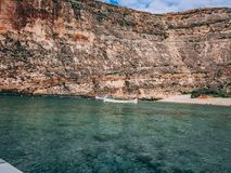 anchor bay in Malta royalty free stock photo