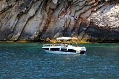 Touristic coast of Moraira with all type of Yachts and sailboats. Royalty Free Stock Photo