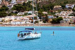 Touristic coast of Moraira with all type of Yachts and sailboats. Royalty Free Stock Image