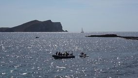 Sailing boats on anchorage near Ibiza stock video footage