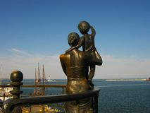 Monument of mother and child waiting for father sailor The ancient architecture of the city of Odessa stock photography