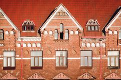 Beautiful ancient architecture of the city of Vyborg. Fragment of an old red brick building royalty free stock photos