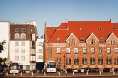 Beautiful ancient architecture of the city of Vyborg. Old and new building nearby royalty free stock photo