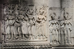 The beautiful ancient carving on the stone at Angkor wat Royalty Free Stock Photography
