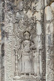 The beautiful ancient carving on the stone at Angkor wat Royalty Free Stock Image