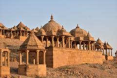 Beautiful ancient cenotaphs of rawal kings in bada baagh jaisalmer rajasthan india royalty free stock image