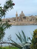 Cityscape view of Valletta, Malta. Beautiful ancient city Valletta in Mediterranean island Malta with a typical cathedral landmark Stock Images