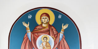 Beautiful ancient fresco of Mary Royalty Free Stock Images