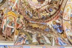 Beautiful ancient fresco on the wall  at Rila Monastery church. Royalty Free Stock Photo