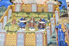 Beautiful ancient fresco on the wall  at Rila Monastery church. Royalty Free Stock Photography