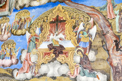 Beautiful ancient fresco on the wall  at Rila Monastery church. Royalty Free Stock Images