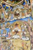 Beautiful ancient fresco on the wall  at Rila Monastery church. Stock Photo