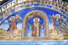 Beautiful ancient fresco on the wall  at Rila Monastery church-Bulgaria Stock Image