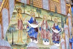 Beautiful ancient fresco on the wall  at Rila Monastery church-Bulgaria Royalty Free Stock Image