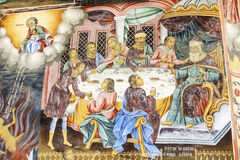 Beautiful ancient fresco on the wall  at Rila Monastery church-Bulgaria Stock Photo