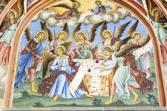 Beautiful ancient fresco on the wall  at Rila Monastery church-Bulgaria Stock Photos