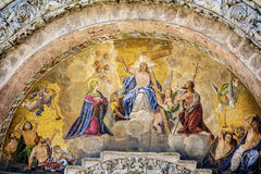 Beautiful ancient fresco on a wall in Venice,Italy. Ancient fresco on the wall at palazzo Ducale stock photography