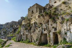 Beautiful ancient ghost town of Matera Sassi di Matera in beau. Tiful bright sun shine with blue sky, south Italy Royalty Free Stock Photos