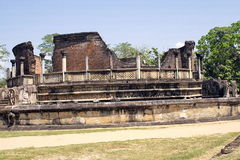 Beautiful ancient hinduist temple. Ruines of Beautiful  ancient old exotic  hinduist temple on sunny day in Sri Lanka Royalty Free Stock Photos