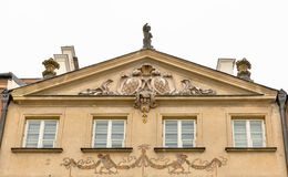 Beautiful ancient house facade in Warsaw, Poland. Stock Photo