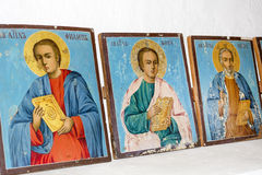 Beautiful ancient icons  in a church. Ancient icons on the wall  at Rila Monastery church Royalty Free Stock Photo