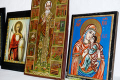 Beautiful ancient icons in a church. Ancient icons on the wall  at Rila Monastery church Stock Photo