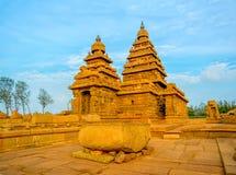 Beautiful ancient monolithic famous Shore Temple near Mahabalipu Stock Photo