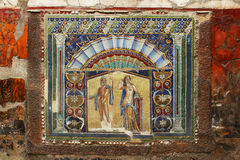 Beautiful ancient mosaic from Herculaneum Fresco of Neptune. Photo of the Fresco of Neptune and Amphitrite, a very beautiful mosaic from the ancient city of Royalty Free Stock Photography