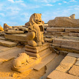Beautiful ancient sculpture of lion monolithic famous Shore Temp Royalty Free Stock Photos