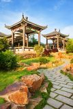Beautiful ancient temple with blue sky and fog Royalty Free Stock Photography