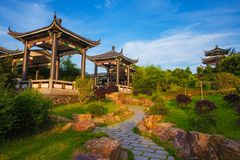 Beautiful ancient temple on the seaside, China Royalty Free Stock Images