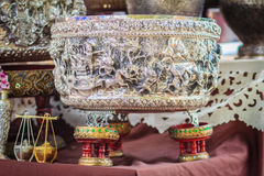 Beautiful Ancient Thai genuine silver bowl, retro engraved silve. Rware, Beautiful genuine silver bowl handicrafts of Thailand Stock Photos