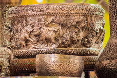 Beautiful Ancient Thai genuine silver bowl, retro engraved silve. Rware, Beautiful genuine silver bowl handicrafts of Thailand Royalty Free Stock Images