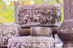 Beautiful Ancient Thai genuine silver bowl, retro engraved silve. Rware, Beautiful genuine silver bowl handicrafts of Thailand Stock Photography