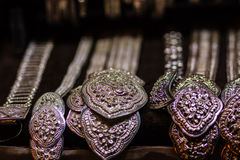 Beautiful Ancient Thai genuine silver jewelry, retro engraved si Stock Photos