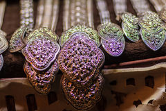 Beautiful Ancient Thai genuine silver jewelry, retro engraved si Royalty Free Stock Photography