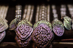 Beautiful Ancient Thai genuine silver jewelry, retro engraved si Stock Images