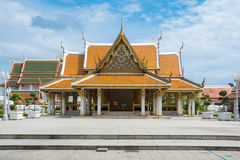 Beautiful ancient thai temple blue sky Stock Photography