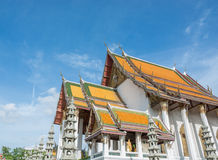 Beautiful ancient thai temple blue sky Stock Photos