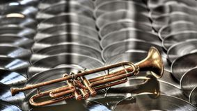 A beautiful ancient trumpet. Passion for music of every kind and country Stock Image