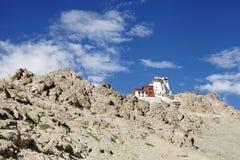 Beautiful ancient Tsemo monastery on hilltop Stock Photos