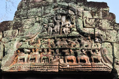 Beautiful ancietn carving of Preah Khan at Siem Reap,Cambodia Stock Images