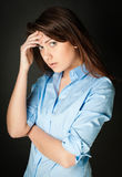 Beautiful And Sad Young Woman Stock Images