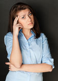 Beautiful And Sad Young Woman Stock Photo